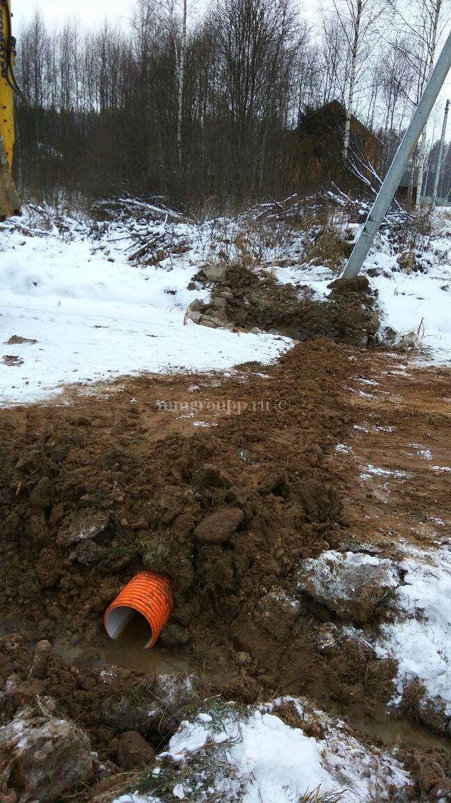 Труба под дорогой для отвода воды - Березки 2